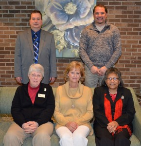 Among the most recent VGCC retirees honored Dec. 18, 2014 were, seated from left, Phyllis Thomas of Raleigh, Denise Gill of Henderson and Catherine Andrews of Warrenton; and standing, from left, Tony Pendergrass of Franklinton and Mitch Evans of Littleton. Not pictured: retirees Carolyn Foster, Ronda Paynter and James Powell. (VGCC photo)