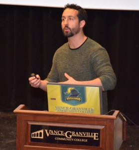VGCC art instructor Isaac Talley of Oxford lectures on issues of wealth, power and art. (VGCC photo)