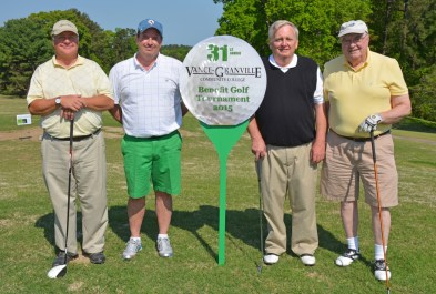 The team of, from left, Steve Wright, Bob Hubbard, Jr., Mike Rainey and Bob Hubbard, Sr., placed third in the morning round of the 31st Annual Vance-Granville Community College Endowment Fund Golf Tournament at the Henderson Country Club on May 5. (VGCC Photo)