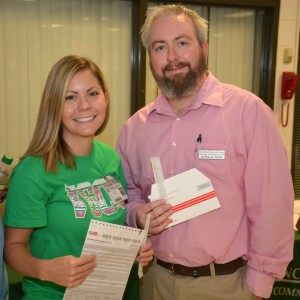 From left, VGCC Associate Degree Nursing student Erica Medlin of Oxford and Radiography student Nick Kemp of Franklinton were among the volunteers coordinating the bone marrow donor registration drive and are seen here holding swabs and registration materials. (VGCC photo)