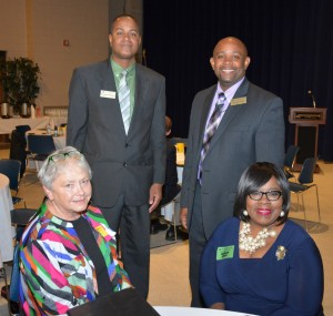 Participants in the forum included, seated from left, Nancy Price, who coordinates a career pathways project involving local school systems and VGCC, and Franklin County Schools Career & Technical Education director Laureen Jones; with, standing from left, Franklin County Early College High School liaison Reginald Bullock and VGCC Warren Campus Dean Lyndon Hall. (VGCC photo)