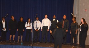 A choir of students, faculty and staff from VGCC's South Campus perform during the Black History Month program. Student Starsha Hargrove directed the choir. (VGCC photo)