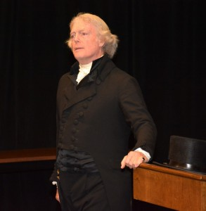 Bill Barker, as Thomas Jefferson, lectures at VGCC. (VGCC photo)