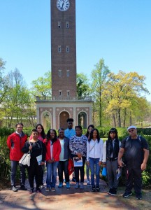The group from VGCC pose in front of the Morehead-Patterson Bell Tower, a landmark on the campus of UNC-Chapel Hill. They included, from left, VGCC Department Chair of Developmental Studies Patrick Morris, students Quedella Hargrove and Alexis Miniaci, Program Head of College Success & Study Skills Oluwunmi Ariyo and students Detra Hunt, Jamarcus Waverly, Shymora Stewart, Brenda Diaz (in back), Ebony Woodard, April Walker and Arthur Yancey. Not pictured: Jesus Alejo.