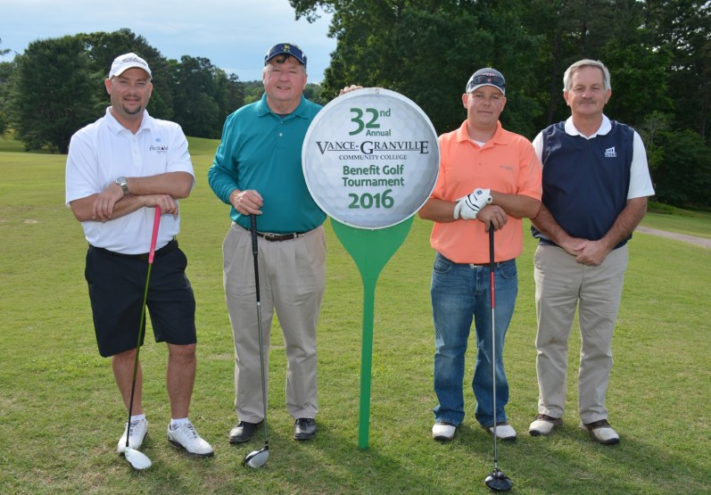 The Carolina Commonwealth team, including, from left, Kenny Abbott, Randy Hoyle, David Fairey and Mike Faulkner, won the afternoon round of the 32nd Annual Vance-Granville Community College Endowment Fund Golf Tournament at the Henderson Country Club on May 23. (VGCC Photo)