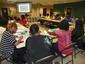 Teachers from Eaton-Johnson and Henderson middle schools are shown working during an AVID training session on June 1.