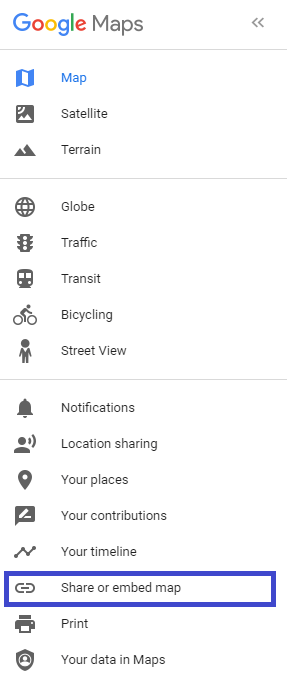 select share and embed on Google maps