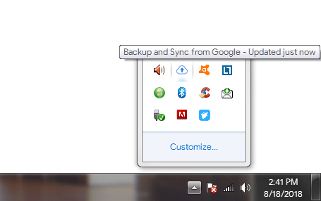 Google Drive on Notification Area