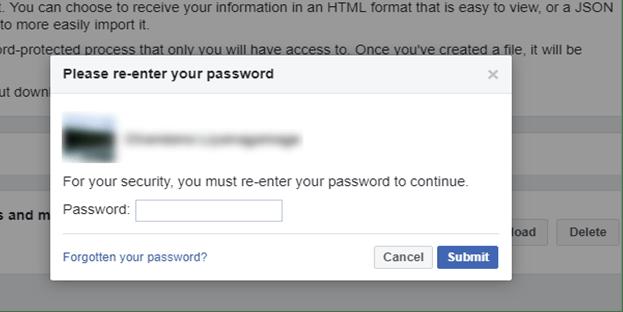 Enter Password to Download Facebook