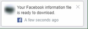 Facebook Information Ready Notification Popup