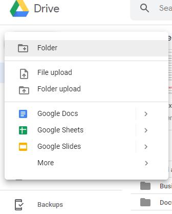Google Drive New Button