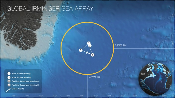 Map of the locations of moorings and mobile assets on the Global Irminger Sea Array. Credit: OOI Cabled Array program & the Center for Environmental Visualization, University of Washington