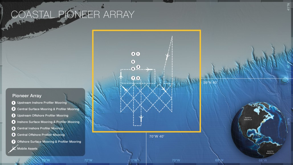 Map of the locations of moorings and mobile assets on the Coastal Pioneer Array. Credit: OOI Cabled Array program & the Center for Environmental Visualization, University of Washington