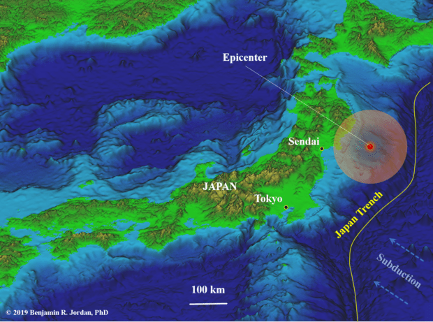 3-D map of Japan with epicenter of the earthquake. Includes topographic and bathymetric relief.
