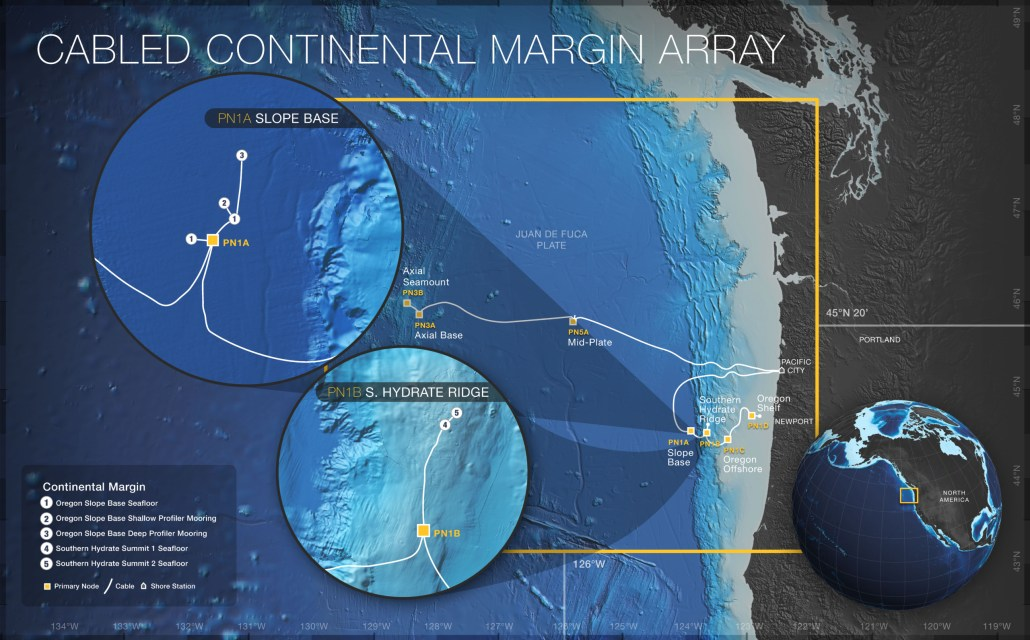 Map of the locations of sites and infrastructure on the Cabled Continental Margin Array. Graphics Credit: OOI Cabled Array program & the Center for Environmental Visualization, University of Washington