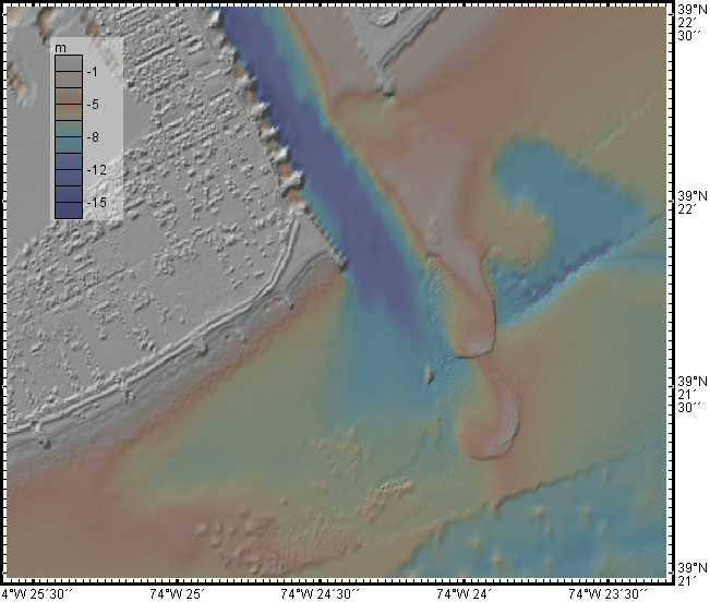 Bathymetric map with color scale bsecon Inlet, New Jersey