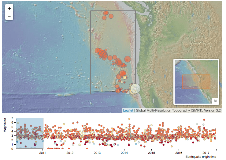 screenshot of data interactive from Plate Boundary Features exploration