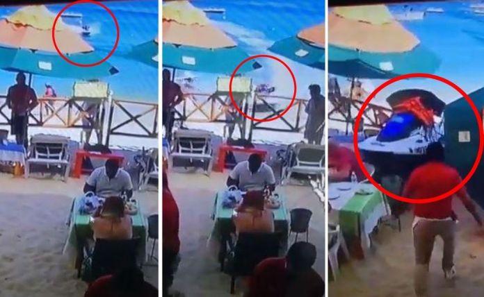 Moto acuática en Los Cabos mata a vendedora de artesanías-video baja california sur