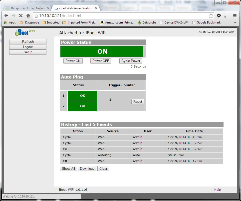 iBoot-G2 Screenshot: Power Status and AutoPing