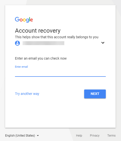 Account Recovery Email in Gmail