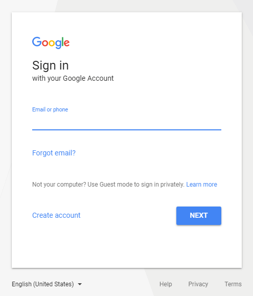 Signing to Gmail Provide Email Address
