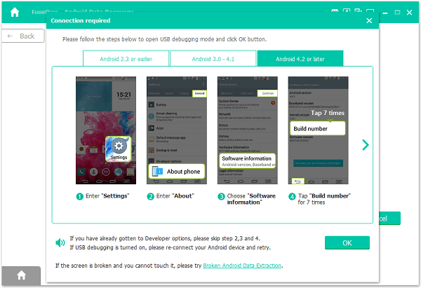 FonePaw Android Data Recovery Enable USB Debugging