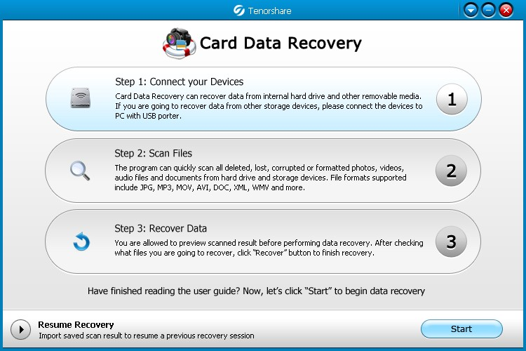 Tenorshare Card Data Recovery Interface