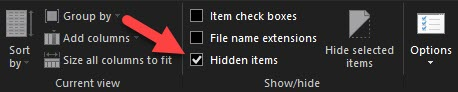Hidden Items in Windows Toolbar