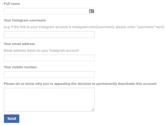 Instagram Reactivation Appeal Page