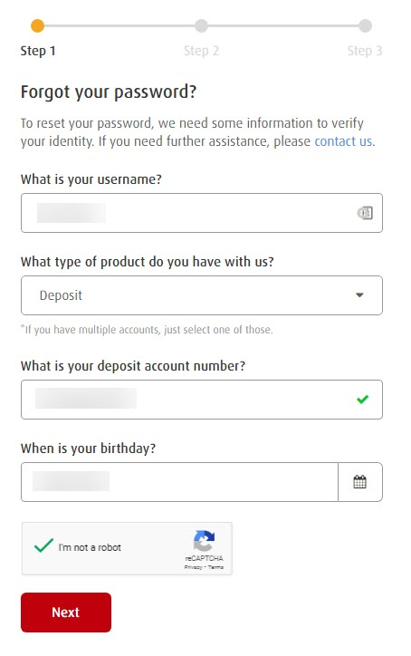 BPI Forgot Password Form