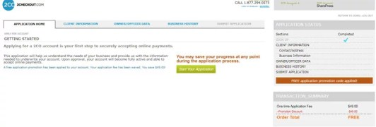 2Checkout Free application form Signup