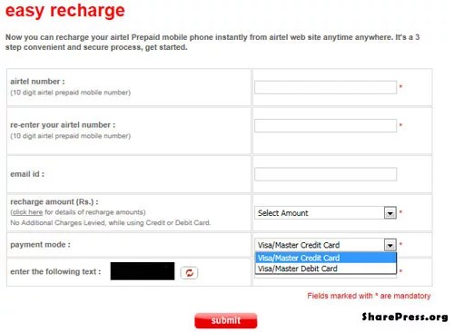 Airtel Online prepaid mobile recharge