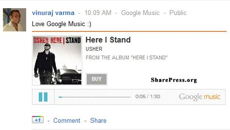 Google Music Share with Friends on Social Networking Google Plus