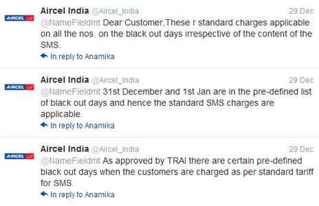 Aircel SMS blackout Days