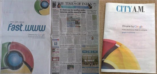 Google Chrome Advertisement on Indian News Papers