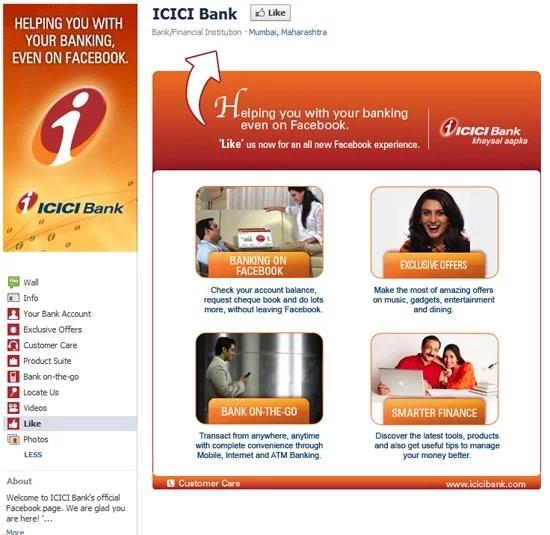 ICICI Bank Facebook Branded page