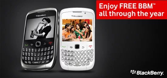 Vodafone India Offering Unlimited BBM Services with Purchase of the BlackBerry Curve 9300 and 8520