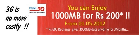 BSNL 3G special offer Now get 1GB Data transfer for Rs 200 per Month