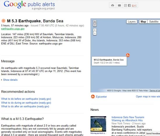 Get Real-time Alert on Tsunami and Earthquake on Google Maps - Information Page