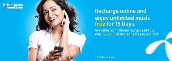 Uninor Customers Recharge online and enjoy Unlimited Music Free for 15 days