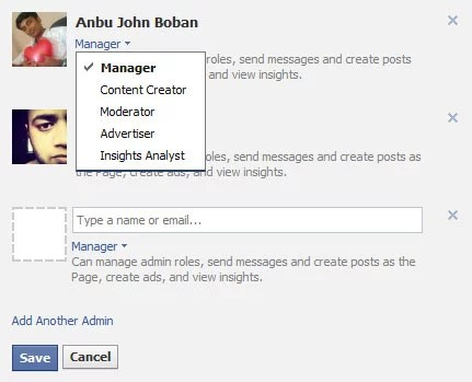 Facebook Page Admin Roles and responsibilities