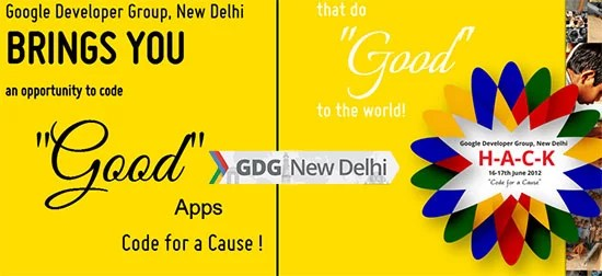HACK 2012 - Code for a Cause hackathon by Google Developer Group New Delhi