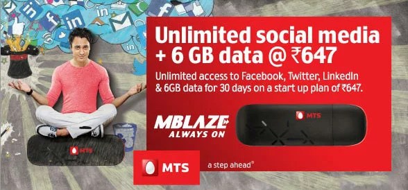 MTS MBlaze launches Unlimited Social Media access with 6GB at Rs 647