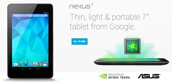 Google Nexus 7 goes on sale in India for Rs 19,990