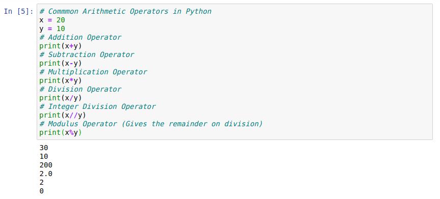 Arithmetic Operators Example