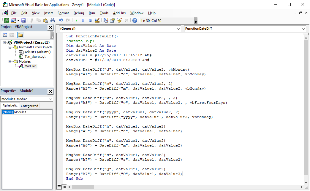 Excel VBA Functions - DateDiff VBA function