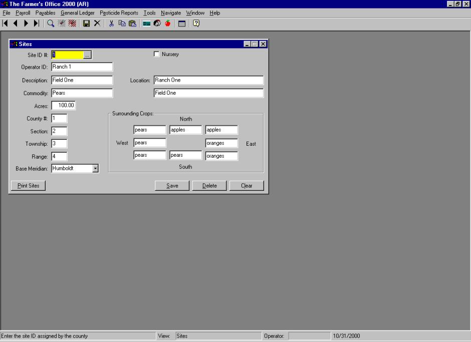 Sites Maintenance file