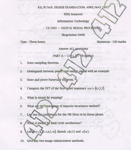 CS2403 digital signal processing old anna university exam
