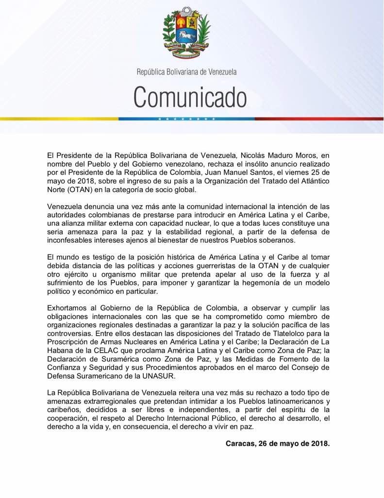 Declaración de Venezuela OTAN
