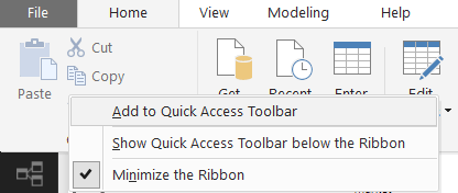 Power BI - Add to Quick Access
